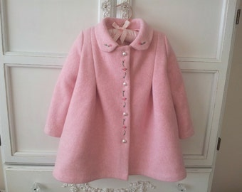 On Sale! Candy Pink Baby Girl's Coat Size 18 to 24 mo. Vintage Style, Hand Embroidery, Toddler full Coat