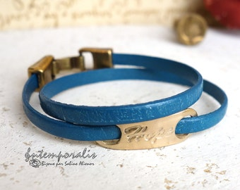 Bronze and turquoise paisley leather bracelet, Hope, OOAK, SABR35