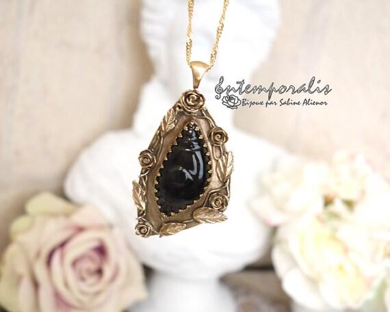 Bronze and rainbow obsidian (dragon glass) pendant, OOAK, SAPE29