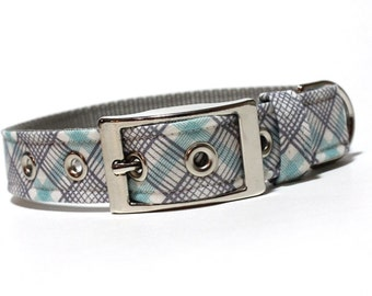 Plaid Dog Collar- Gray and Blue Perfect Plaid dog collar with metal buckle