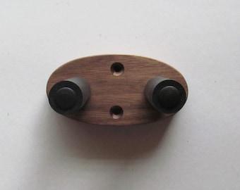 Walnut ukulele wall mount hanger, hook, wood grain will vary.