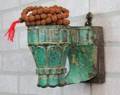 Sconce Candle Holder Green Architectural Element Sconce Reclaimed Carved Antique Wood Accent Mediterranean Moroccan Decor Green Coat Hanger