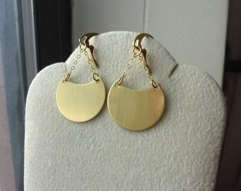 Raw Brass Crescent Chain Earrings