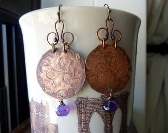 Hammered Disc with Swirly Loops and Faceted Amethyst Onion Briolette Earrings, Rustic, Tribal, Boho Chic, Bohemian, Artisan, Chandelier