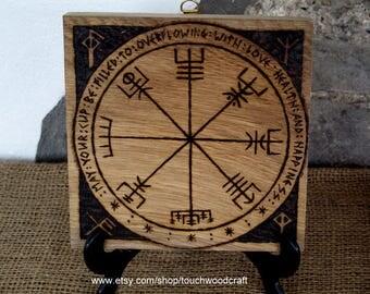 Vegvisir, Viking Compass Plaque. Viking Decor, Asatru, Heathen, Runes, Good Luck, Travel, Blessing, Wedding, Handfasting, House warming,.