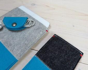 IPAD MINI 4 sleeve Ocean blue felt collection wool felt case - Dutch Handmade - New item - red detail, ecofabric