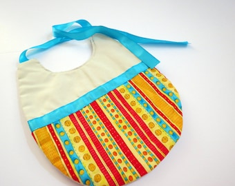 Striped Baby Bib with Teal Ribbon