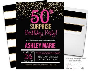 50th Birthday Invitation - 50th Birthday Invite - 50th Surprise Birthday - Surprise Party Invite - Adult Birthday - Milestone Birthday