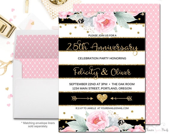 Surprise Wedding Anniversary Invitations: FLORAL 25th Wedding Anniversary Invitation, Wedding