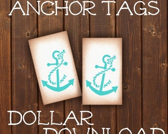 INSTANT DOWNLOAD  Anchor Tags / DIY / Printable / Beach / Ocean / Sea / Wedding / Labels / Packaging / Favor Tag / Party / Summer / Nautical