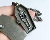 Skeleton Coffin Antique Brass Halloween Necklace