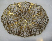 Vintage Oval Filigree:  Guyot Ornate Lacy Dapt (Dapped) Stamping, Unplated Brass Filigree Jewelry Finding, Center Hole,  60x44mm, 1 pc.