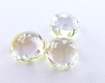 Citrine Micro Faceted Round Cab. Bright & Sparkly. Native Cut Natural Gemstone. Can BE Drilled. 8 cts. 13x13x7 mm (CT1941)