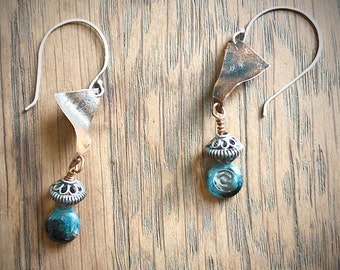 Dangle Earrings, Etched Copper, Blue and White Wire Wrapped Lampwork, Sterling Silver Beads, Ear Wires, Gift for Her, Graduation Present