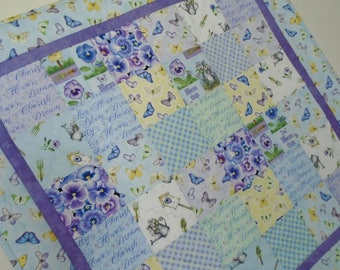 Butterfly Quilted Table Runner in Blue and Lavender, Pansy Quilted Table Topper, Spring Garden Table Quilt, Butterflies Quilted Wall Hanging