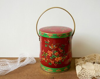 Decorative Tin. Floral Basket. Metal Box. Storage Container. Tin Box Company. Vintage Home Decor. Housewares. Shabby Cottage Farmhouse Chic.