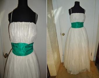 White Christmas Chiffon Vintage 1950's XMAS Women's Party Dress XS S