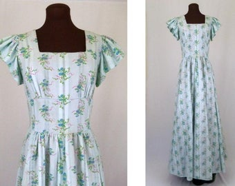 Vintage 70's Maxi Dress Pastel Blue Floral Print Cotton Blend Size S