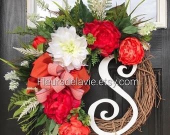 NEW! Summer Wreath for Front Door, Spring Door Wreath, Grapevine Door Wreath, Summer Wreaths,
