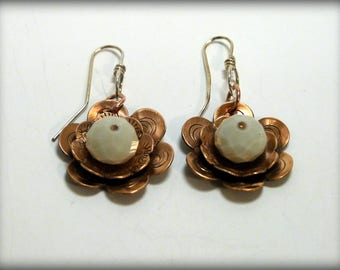 Copper Flower earrings with faceted bead