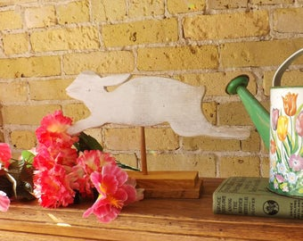Running Rabbit on Stand, Reclaimed White Oak, Silhouette of a Wild Hare in Shabby White Paint, Spring or Easter Decor, Gift, Bunny Rabbit