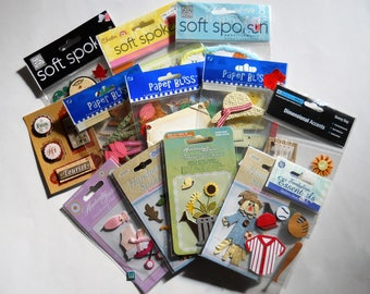 Scrapbooking Supplies and Embellishments - Cardmaking Stickers and Tags - 3D Accents - Craft Supply Destash