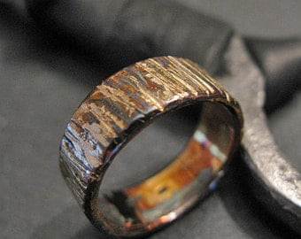 Mens Wedding Band Mens Wedding Ring Bark Ring Bark Wedding Band Unique Mens Wedding Band Viking Wedding Ring Mens Wedding Bands Mens Rings