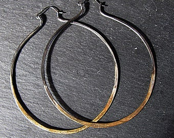 Ombre Gold Hoop Earrings 22K Gold Black Rhodium Hammered Silver Hoop Earring Large Hoop Earring Boho Earring 3 Inch Hoop Earring Ombre