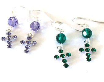 Cross Earrings Emerald Tanzanite Swarovski Crystal