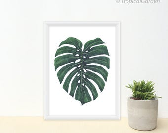 Tropical Leaf Print, Watercolor Leaf Art - Any ONE 8x10 OR 8x11 Leaf Art Print Minimalist / Botanical Print, Modern Leafs