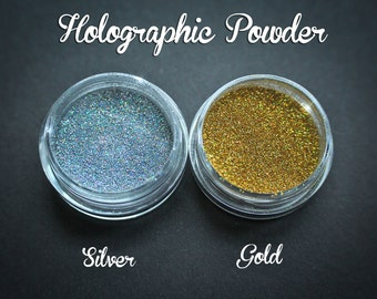 Holographic Fine Glitter 3ml jar -shimmery effect glitters for polymer clay, nailart, papercrafts, silver or gold