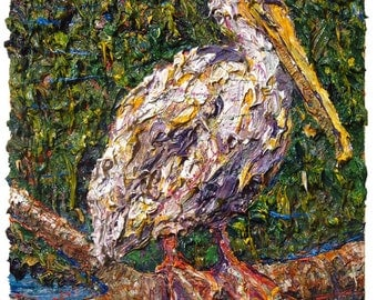 SOLD - Rid of Itself (cat. ref. m998) / Original oil painting modern nature impressionist art signed abstract bird landscape nyc wildlife
