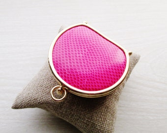 NEIMAN MARCUS Collapsible Reptile Coin Purse, Vintage Snake Skin  Hinged Change Purse, Pink Lizard Coin Purse, Couture Coin Purse