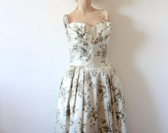 1950s Party Dress - Lorrie Deb floral print silk satin evening gown - vintage prom dress size S