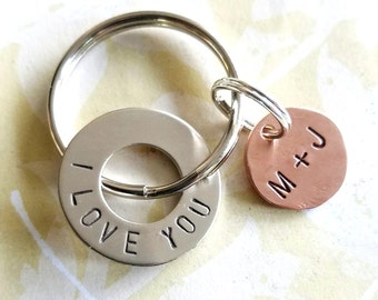I LOVE YOU Gift Key Chain with Nickel Silver Washer & Copper Disc for Boyfriend Gift - Fiance Gift - Husband Gift