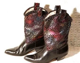 Gorgeous Rainbow Metallic Python Snake Print Leather Boots - Black Cowgirl Boots - Braided Trim - Vintage 1980s Cowboy Boots - Fun & Unique