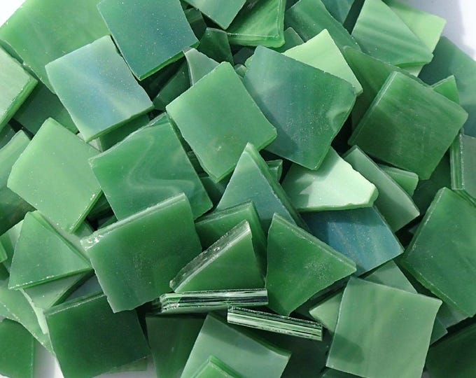 Stained Glass Mosaic Tiles in Fern Green - 1/2 Pound - Tumbled Glass in Shades of Pickle Green