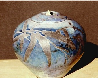 Blue Raku Urn, 6 in. Handmade USA, Copper Detail, decorative Jar