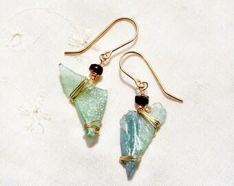 Roman Glass Earrings Gold Filled Earrings+ Garnets Roman Glass Jewelry Gold Filled Jewelry Israeli Jewelry Rustic Earrings Free Shipping l