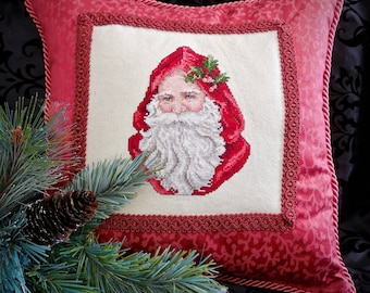 Embroidered Santa Pillow for the Holidays
