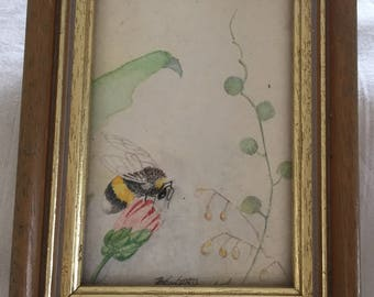 A sweet, vintage small watercolour, or pen and ink painting of a bee.