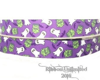 5 Yds WHOLESALE 7/8 Inch GHOST and BATS Halloween grosgrain ribbon Low Shipping Cost