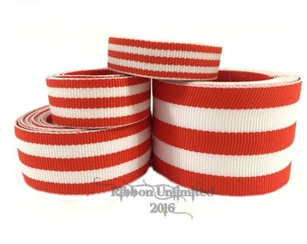 10 Yds WHOLESALE Orange TAFFY Stripes grosgrain ribbon LOW Shipping Cost