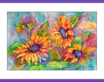 Painting Sunflowers Pastel Colors by Watercolor Artist Martha Kisling