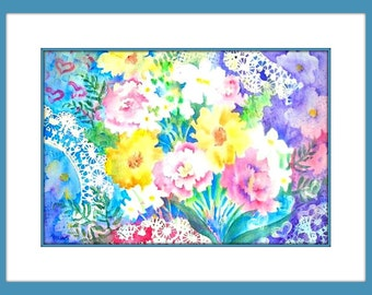 Watercolor Flowers and Lace, Watercolor Pastel, Doily Lace, Abstract Flowers, Purple Lavender, Yellow Pink,{pastel Flowers, Art With Heart