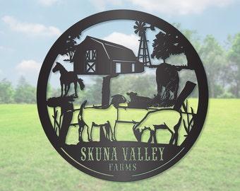 Circle Goat and Farm Animal Sign LMW-16-77
