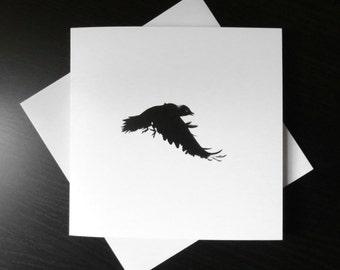Crow blank card, bird card, crow print, wildlife card, halloween card, black and white card, art card, gothic card, bird print, corvid