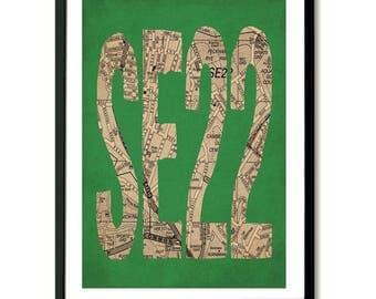 SE22, South London, Postcode Art Print