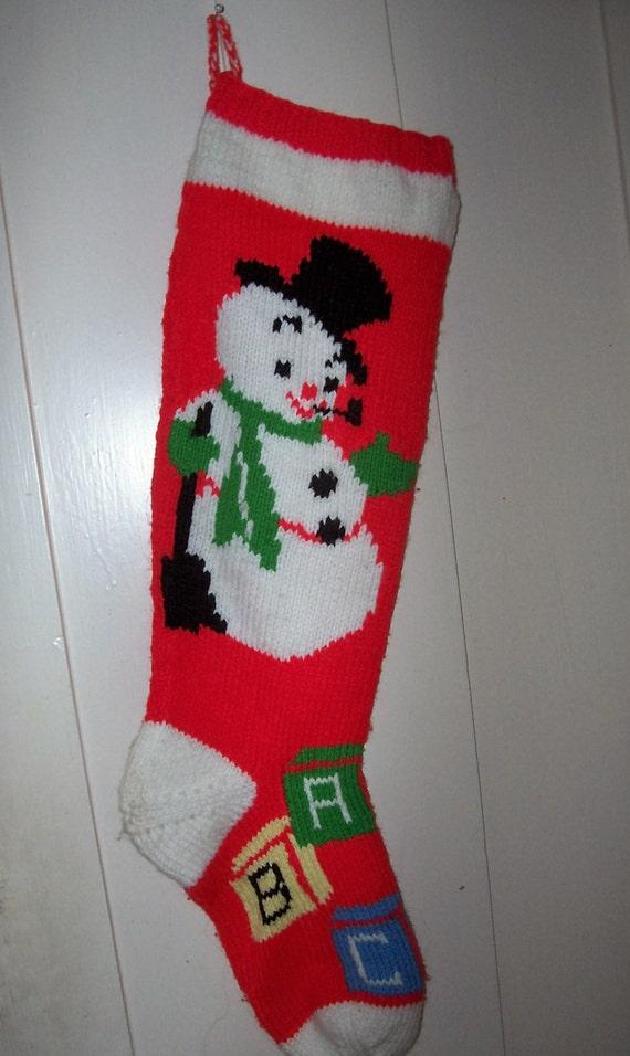 For Christmas 2016 Hand Knit Christmas Stocking Snowman