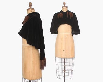 Vintage 50s MINK Trim CAPE / 1950s Cropped Black Velvet Mink Tail Swag  Capelet Evening Jacket